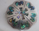Vintage brooch pendant, Melicio Rodriguez Taxco abalone inlaid sterling silver brooch/pendant, antique Mexican jewelry