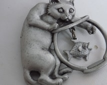 "Vintage brooch, signed ""JJ"" Jonette jewelry cat at fish bowl figural pewter brooch, fun jewelry"