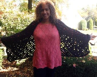 Crocheted prayer shawl in dusty black tweed