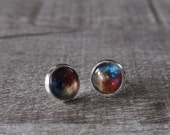 Sparkling Nebula Space Silver Color Glass Tile Round Stud Earrings Galaxy Jewelry 10438