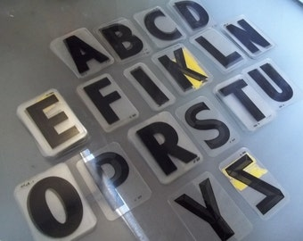 "Vintage 3"" x 5"" Hard Plastic Black Letters, Signage"