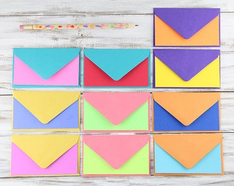 Set of 10 Mini Flat Notes - Colorful Blank Cards