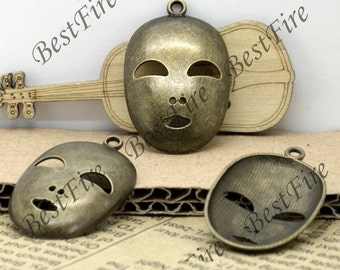 24 PCS Of 25x39 MM Antique Bronze Charm Mask Shape Pendant,pendant beads,  pendant jewelry findings