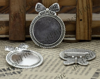 2 pcs Antique silver big  filigree Luster Round (base 30mm ) bowknot Brooches , bowknot Round  Brooch