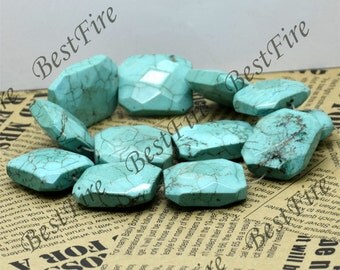 27x32mm Faceted Blue Big Turquoise nugget gemstone beads, Turquoise Nugget  Gemstone Bead loose strands