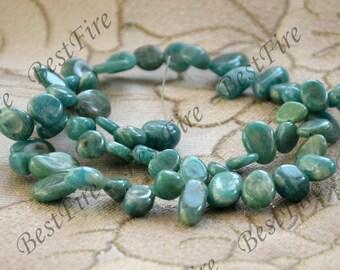 Charm green stone drop shape nugget beads,gemstone beads, stone loose semi-precious stone beads,loose strands