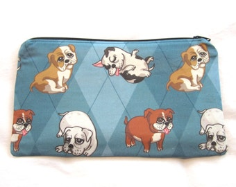 Cute Bulldogs Fabric Zipper Pouch / Pencil Case / Make Up Bag / Gadget Sack