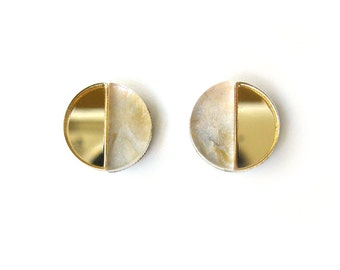 APSE Stud Earrings in Pearl Marble - Marble Earrings, Crescent Earrings, Gold Earrings, Half Moon Earrings, Modern Earrings, Post