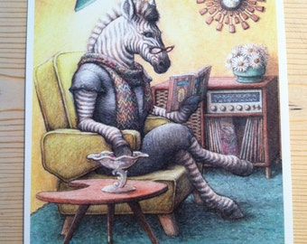 Signed Print, Fruit Stripes Zebra Illustration