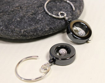 Hematite Dangle Earrings with Sparkling Sterling Silver, Gemstone Jewelry