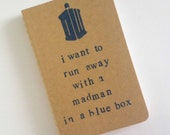 NOT QUITE PERFECT clearance special no returns, no exchanges, no refunds- madman in a blue box - hand stamped moleskine notebook pocket size