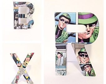 Pick 3-Small Comic Book Letter, Initials, Personalized, Custom Made 6 Inch