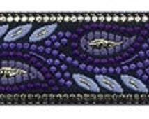 """10 Yard Lot - 3/4"""" Black Purple Lilac Grey Gold Fabric Trim (L3209)"""