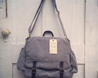 Convertible corduroy+ leather backpack messenger bag
