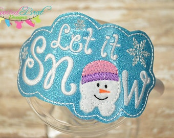 Let it Snow Snowman Slider Headband, Girls or Toddler Girls, Perfect for the Holidays!
