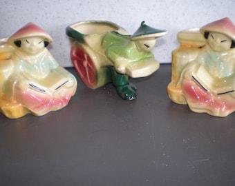 Mid Century Ceramic Asian Planters - Set Of Three