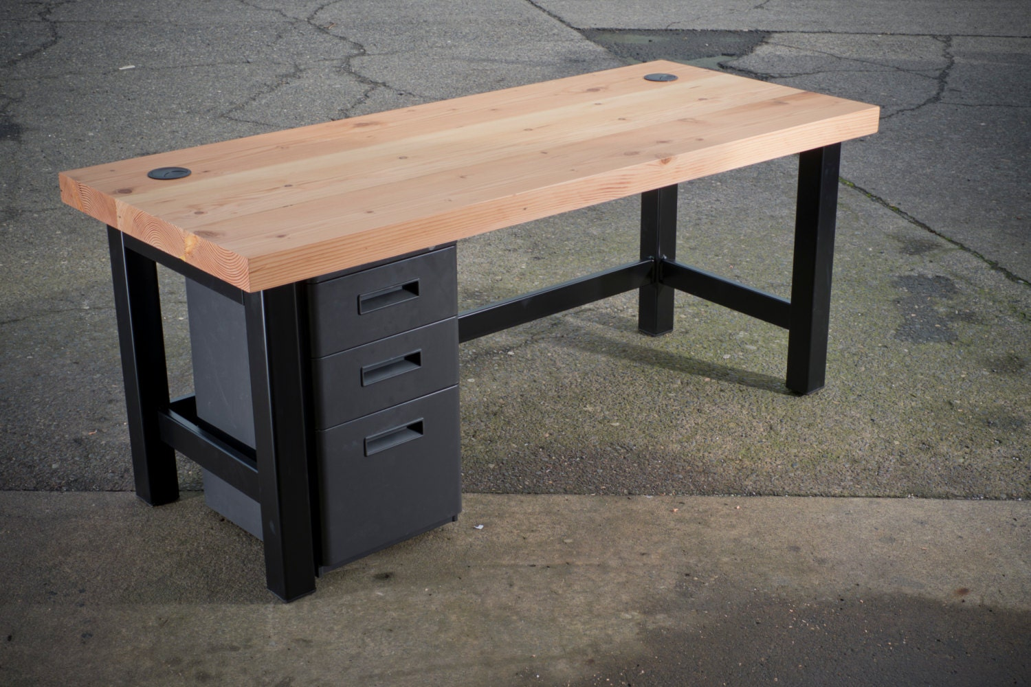Reclaimed wood slab desk with metal legs for Metal desk with wood top