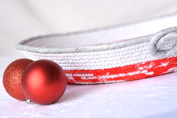 Red Christmas Decoration, Handmade Red Holiday Bowl, Silver and Red Gift Basket, Red Gift Basket, Red Holiday Party Decoration