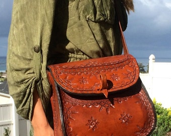 Purse / Bag / Women / Leather / Custom / Hand Carved and Tooled / Cobbled / Large / Woman / Ladies / Handmade / Hand Crafted / Bag, Purse