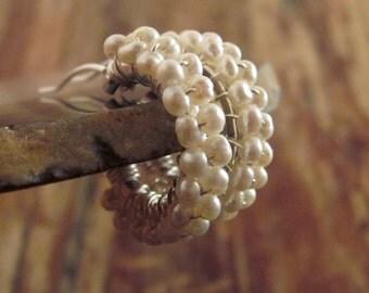 Pearl Hoop Earrings Pearl Hoops June Birthstone Earrings Pearl Earrings Sterling Silver Hoops Womens Gift Pearl Beaded Hoops Pearl Jewelry