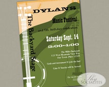 Music Festival Invitation | Poster, Bluegrass Party, Folk Music, Guitar, Banjo | PDF Instant Download