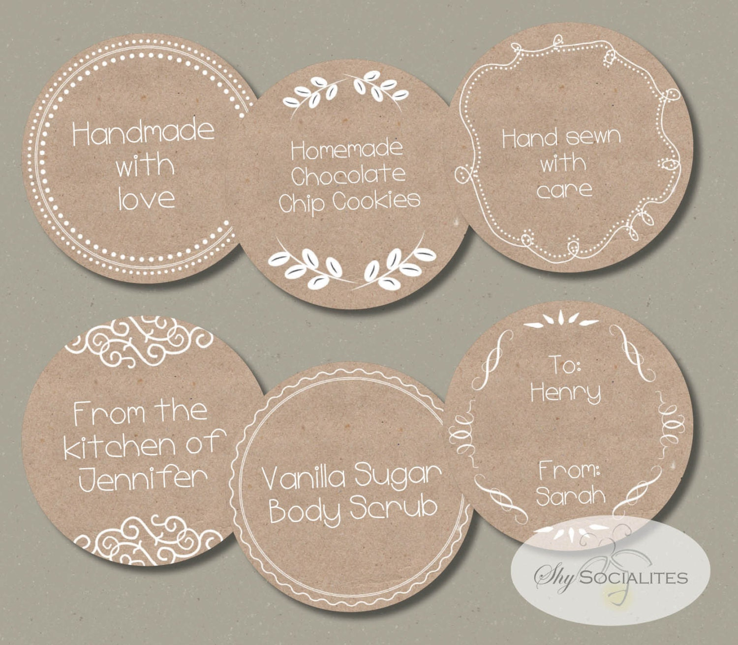 How To Make Homemade Labels Brown Paper Or Gift Tags Instant Download Printable