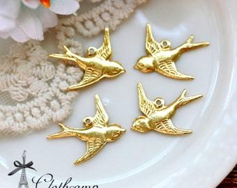 10PCS one loop Antique Bronze/ Golden/ Silver/ Brass one loop Bird Charm Connector Finding  (FILIG-GD-35)