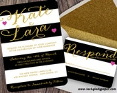 Gold Modern Glam Black and White Stripe Glitter Invitation Set by Luckyladypaper - CUSTOM CARD ORDER