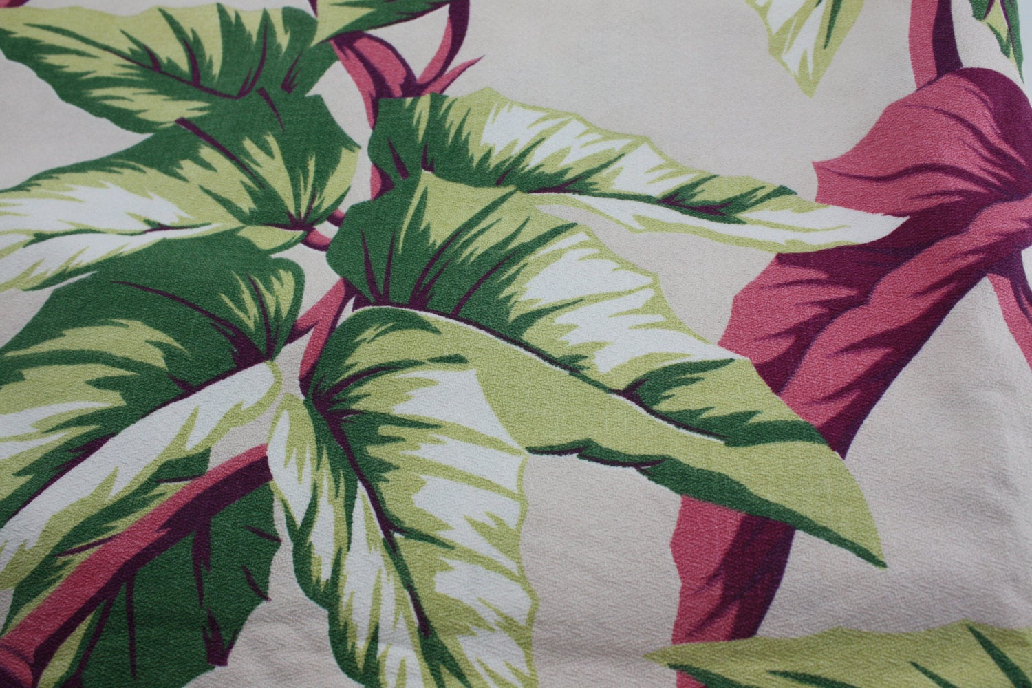 Vintage barkcloth fabric panel tropical tiki eames by cybersenora