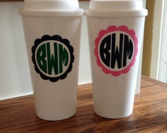 White double wall insulated Coffee Travel Mug dishwasher & microwave safe personalize monogram GREAT gift idea