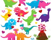 Valentine's Day Dinosaur Clip Art Clipart, Valentine Dinosaurs Clipart Clip Art Vectors - Commercial and Personal