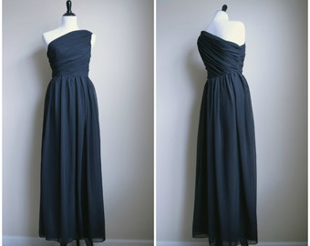 One Shoulder Dress Black Chiffon Bridesmaids Wedding - custom size and colors