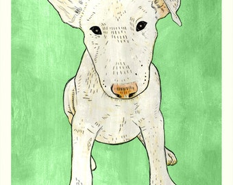 DIGITAL Bullterrier puppy-postcard sized instant download-SUPPORT the Soi Dog Foundation