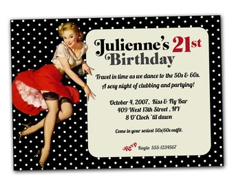 Retro Pinup Girl Invitation, I will customize for you, Print your own