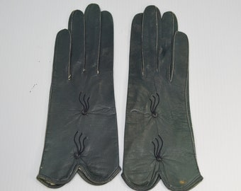 Vintage Gloves 1950s Leather Gloves Dark Green Unlined Soft Kid Leather Womens Size 6.5 Wrist Length Made in West Germany