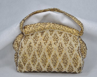 Charlet Beaded Purse 1940s Beaded Handbag Pink and Gray Bag with Zipper Closure Very Nice Condition