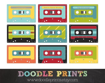 Cassette Tapes Clipart - Music Cassette Digital Images - Digital Clip Art Printable -  Personal and Commercial Use - Instant Download