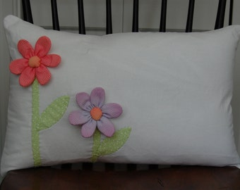 SALE, Springtime Flower Pillow, Applique, Decorative Pillow, Handmade