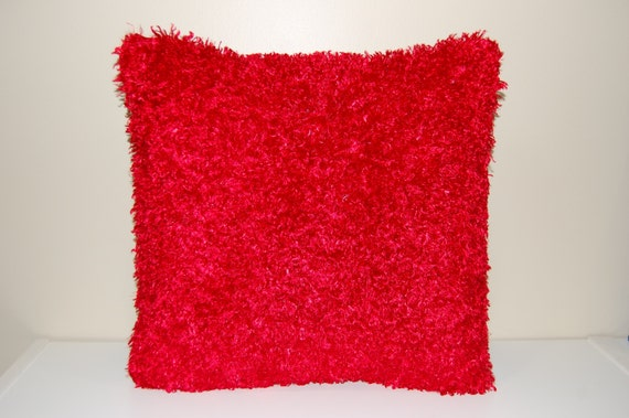 Fluffy Funky Red Pillow Decorative Super By
