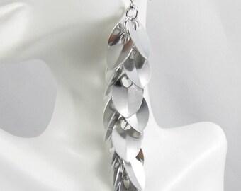 Silver Scale Shoulder Duster Earrings