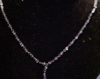Black fresh water pearl and crystal necklace