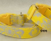Dog Collar Bold Yellow  Grey Gray Damask like design pattern Everyday Fun No Bow Adjustable Dog Collars D Ring Choose Size Stripe Accessory