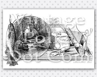 Clip Art Printable Fishing Collage Lake Digital from the 1800's Clipart Graphics Printable Digital Instant Download