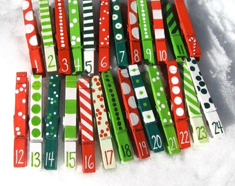 ADVENT CALENDAR CLOTHESPINS 25 hand painted numbered clothes pins