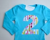 Girls 2nd Birthday Shirt, Long Sleeve Tshirt, Number 2 Applique Tee, Turquoise Pink, Birthday Candle, Size 2, Ready to Ship Second Birthday