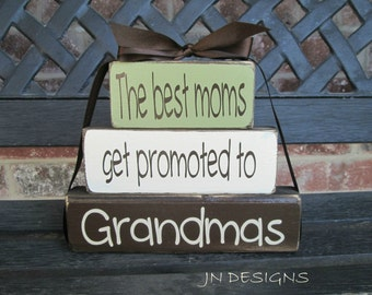 "Grandma/mothers day""CHUNKY"" stacker wood blocks--The best moms get promoted to Grandmas"