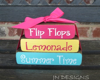 "Summer ""MINI"" stacker-Flip Flops Lemonade Summer time"