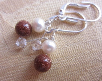 Pearl, goldstone and crystal drop earrings