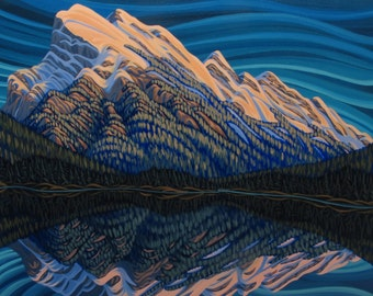 Mt Rundle, 8X10, Art Print, Canadian Artist, Ready To Frame, Landscape Painting, Reproduction