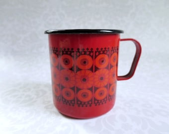 Finel Finland Red Enamel Daisy Mug, Vintage  Enamel Mug Cup by Kaj Franck, Glamping Coffee Mug, Mid Century Kitchen, Stocking Stuffer Gifts